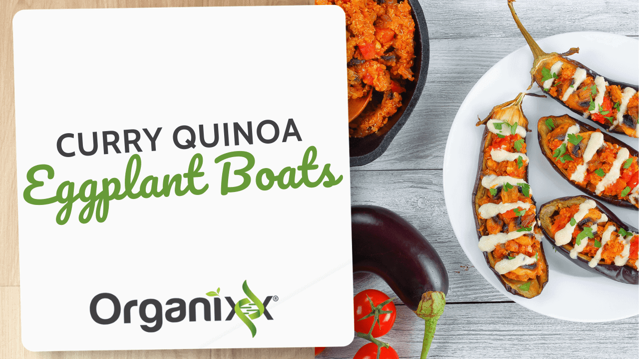 Curry Quinoa Eggplant Boats